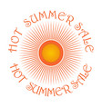 sun logo icon and inscription - hot summer sale vector image