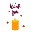 thanksgiving card with cute candle vector image