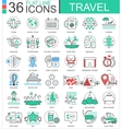 Travel color flat line outline icons for vector image vector image
