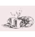 Two cups coffee croissant vintage vector image