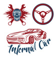 vintage label sport car theme with carflameskull