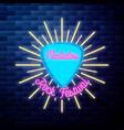 vintage rock festival emblem glowing neon sign vector image vector image