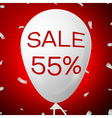 White Baloon with text Sale 55 percent Discounts vector image vector image