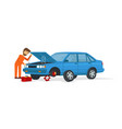 young mechanic fix the blue car and opening the vector image