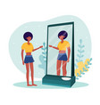 young skinny woman standing in front mirror vector image
