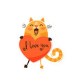 a happy cat with a valentine and message i love vector image