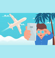 airplane travel man makes selfie on background vector image vector image