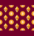 bitcoin and etherium seamless pattern crypto vector image vector image