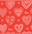 boho ornamental hearts seamless pattern red vector image
