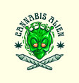 cannabis alien join weed emblem vector image vector image