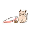 cat sitting beside empty litter box and poop lying vector image vector image