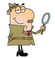 Caucasian Cartoon Detective Man vector image vector image