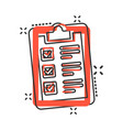 checklist clipboard sign icon in comic style vector image vector image
