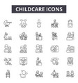 chilcare line icons signs set outline vector image vector image