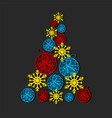 christmas tree made from snowflakes and vector image vector image