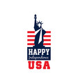 creative logo with statue liberty and us flag vector image vector image