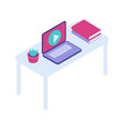 desktop with open laptop isometric icon vector image vector image