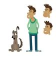 dog sitting next to a man vector image vector image
