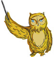 drawn colored owl vector image vector image