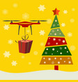 drone delivery presents under christmas tree new vector image vector image