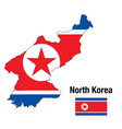 flag and map north korea vector image