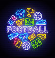 football icons set soccer neon sign vector image vector image
