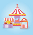 fun fair carnival carousel ticket booth and food vector image vector image