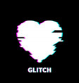 glitch heart icon technology background white vector image vector image