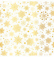 gold glowing snowflakes seamless repeat vector image vector image