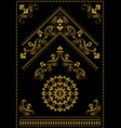 gold ornaments and corner on black background vector image