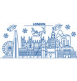 great britain london winter city skyline merry vector image