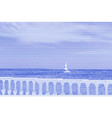 image collage of sea and fence with white vector image