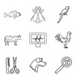 injured animal icons set outline style vector image vector image