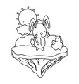 line female rabbit animal in the float island vector image vector image