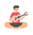 male sitting on floor and playing guitar isolated vector image vector image