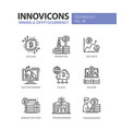 mining and cryptocurrency - line design icons set vector image vector image