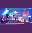 modern teenager boy room interior cartoon vector image