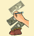 money falls into the purse counterfeiter draws vector image vector image