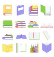 open and closed books with blank pages collection vector image