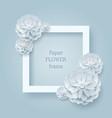 paper flower square frame silver background vector image