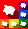 pig money bank sign set of icons with vector image