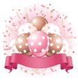 pink birthday balloons design vector image vector image