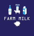 poster farmer milk cow vector image