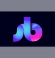 sb s b spink blue gradient alphabet letter vector image vector image