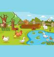 scene with farm animals on farm vector image vector image