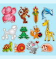 set animal stickers with giraffe elephant vector image vector image