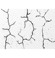 Set of vertical realistic wall cracks isolated on vector image vector image