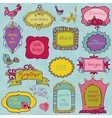 Sweet Doodle Frames with Birds and Flower Elements vector image vector image