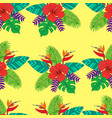 tropical leaf palm flower hibiscus bird of vector image