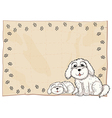 Two white dogs beside a frame vector image vector image